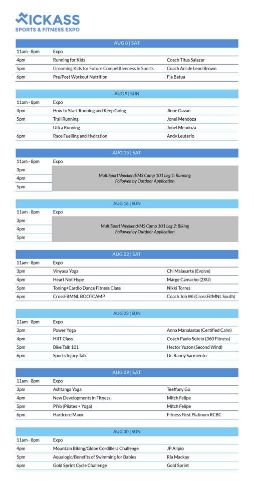 Kickass Manila Schedule